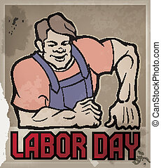 Huge workman poster with Labor Day typography - Poster with...