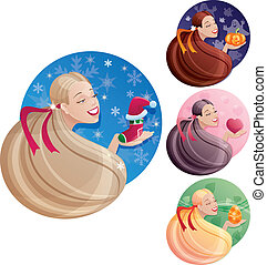 Set of long hair womens images which symbolize holidays -...