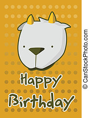 illustration cute goat - birthday card with illustration...