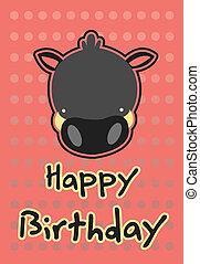 illustration cute wild boar - birthday card with...