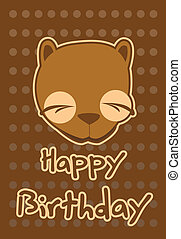 illustration cute beaver - birthday card with illustration...