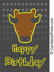 illustration cute buffalo - birthday card with illustration...