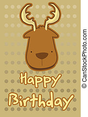 illustration cute deer - birthday card with illustration...