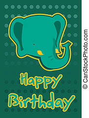 illustration cute elephant - birthday card with illustration...