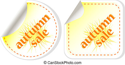 autumn sale stickers set. vector