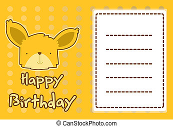 illustration cute fox - birthday card with illustration cute...
