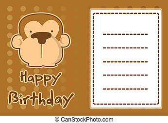 illustration cute monkey - birthday card with illustration...