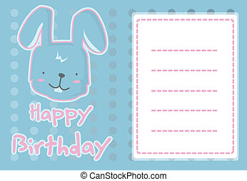 illustration cute rabbit - birthday card with illustration...
