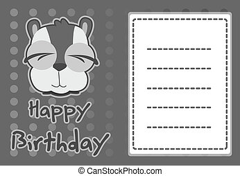 illustration cute raccoon - birthday card with illustration...