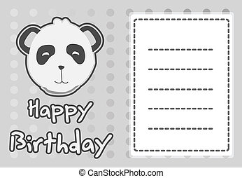 illustration cute panda - birthday card with illustration...