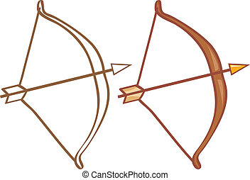 Bow and arrow. Color and contour illustration