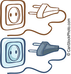 Electrical plug and socket. Color and contour illustration
