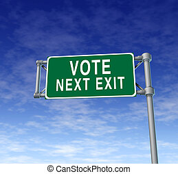 Vote Highway Sign - Vote and voting highway traffic sign as...