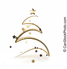 Christmas tree - Golden Christmas tree as a symbol