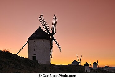 Windmills in Consuegra, Spain. - View of the windmills in...