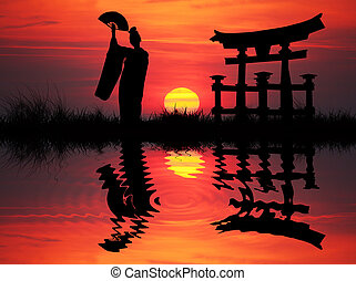 Geisha at sunset - Geisha silhouette illustration