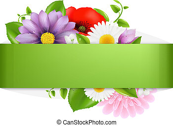 Green Background With Color Flowers, Vector Illustration