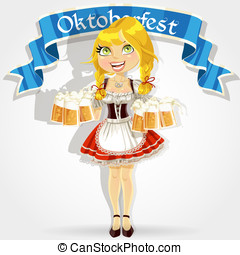 Girl with Oktoberfest beer - Pretty girl in traditional...