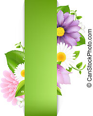 Green Background With Summer Flowers, Vector Illustration