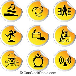 glossy stickers with warning signs set 2