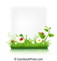 Blank Gift Tag With Grass Border, Vector Illustration
