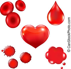 Set With Blood Drop And Heart, Vector Illustration