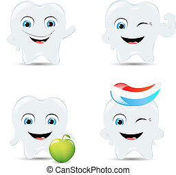 Tooth Icons Set - 4 Tooth Icons, Isolated On White...