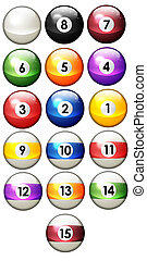 Sixteen pool balls isolated on a white background 3D...