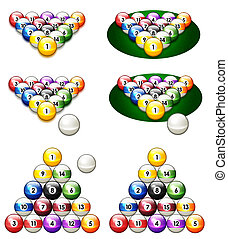 illustration of a glossy set of pool balls in proper...