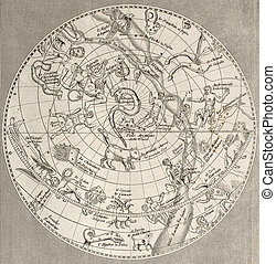 Hemisphere Nord - Antique illustration of Celestial...