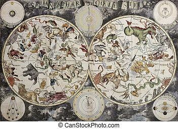 Planisphaeri Coeleste - Old sky map depicting boreal and...