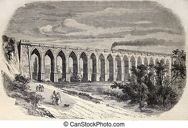 Desenzano Viaduct - Antique illustration of Desenzano del...
