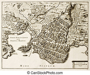 Syracuse old map - Antique map of Syracuse, Sicily. The...