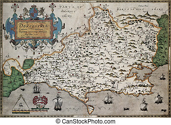 Dorset old map, from Atlas of England and Wales. Created by...
