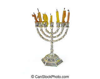 Menorah jewish Candles on a white background