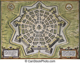 Palmanova old map - Palmanuova old map, north-eastern Italy,...