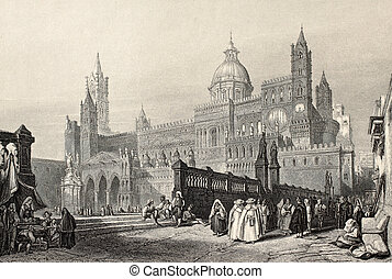 Palermo Cathedral bis - Antique illustration of Palermo...