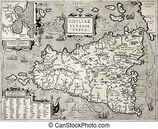 Sicily old map with Syracuse detail - Antique map of Sicily...