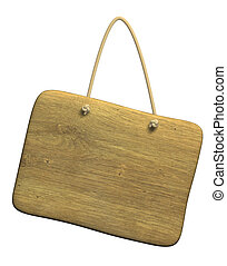 Wooden tablet on a cord