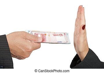Refusing money - An uncorrupted businessman refusing money...