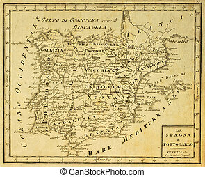 Spain and Portugal old map, published in Venezia, Italy,...