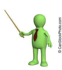 3d puppet - businessman in a tie with pick. Objects over...