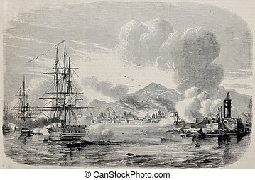 Palermo bombardment in 1860 by Bourbons fleet and from the...