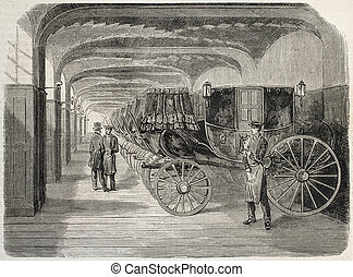Carriage house - Antique illustration of carriage house....