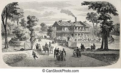 Port Jaune Chalet - Antique illustration shows Chalet de la...