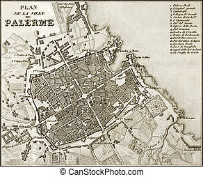 Antique map of Palermo, Italy - An old map of Palermo, the...