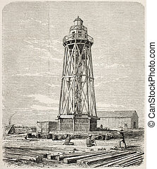 Port Said lighthouse just built while working on the Suez...