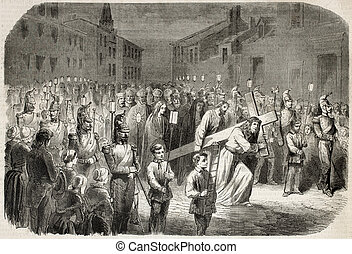The Passion of Jesus - Old engraved illustration of ceremony...