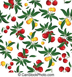Red cherry - Seamless cherry background. Vector...