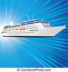 Ship - Ocean liner, ship, motor vessel. Vector illustration....